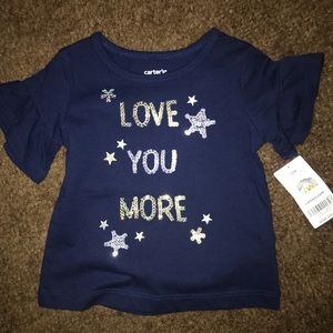Carter's Glitter Love You More Bell Sleeve Top
